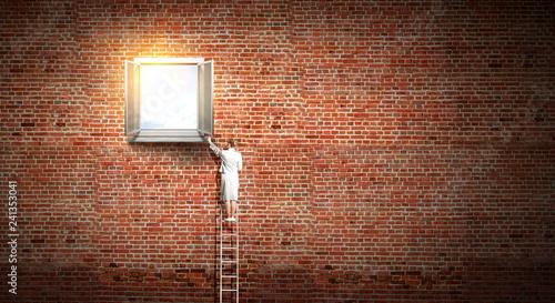 Leinwanddruck Bild Window to success. Mixed media