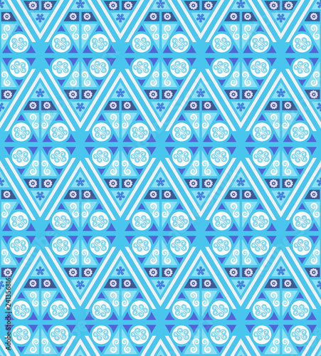 seamless blue ethnic pattern tile - 241356816