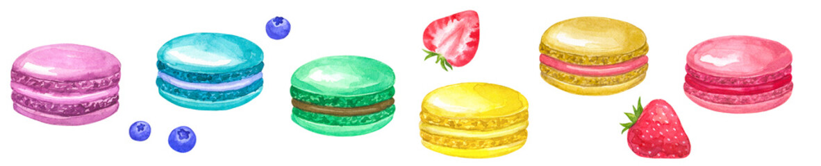 Brighr corolful macaroons. Pink, yellow, blue, green, beige, purple. With blueberries and strawberries. Hand drawn watercolor illustration. Isolated on white background. © Taity