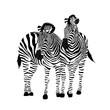 Zebra couple standing. Savannah animal ornament. Wild animal texture. Striped black and white. Vector illustration isolated on white background.
