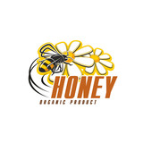 Honey bee with flower icon for organic food design