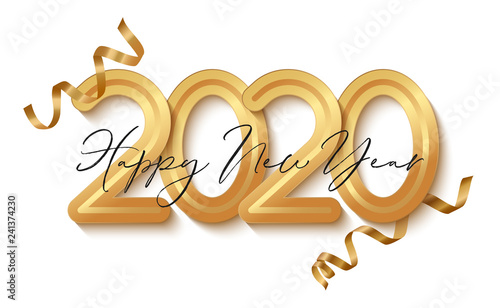 Happy New Year Banner with gold 2020 numbers. Vector illustration