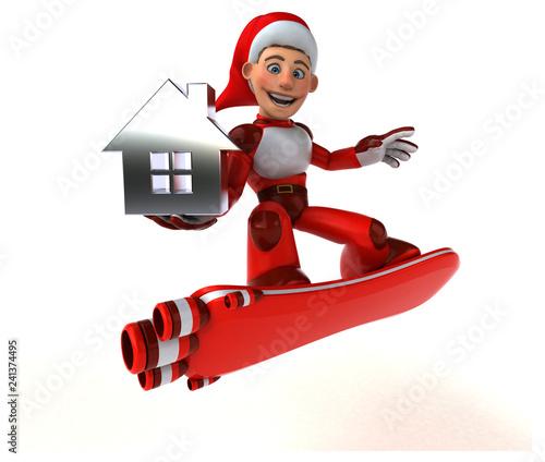 Fun Super Santa Claus - 3D Illustration - 241374495