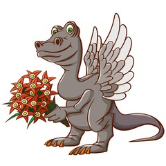 A little winged dinosaur came to visit. With a bouquet and congratulations.