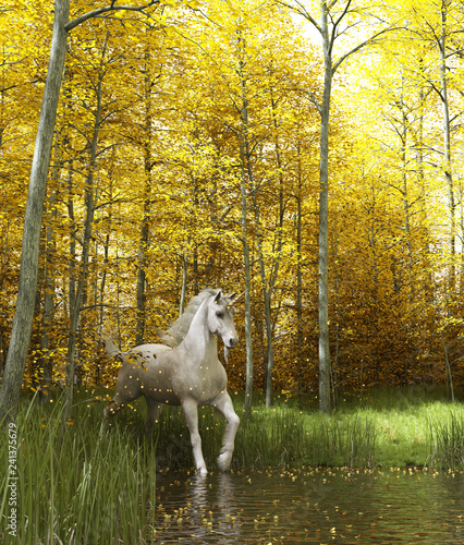 White unicorn in magical forest,3d fantasy illustration. - 241375679