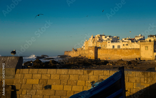 medieval Moroccan village of Essaouira at the sunset