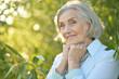 Portrait of happy beautiful elderly woman posing outdoors