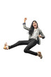 Successful asian business woman jumping and raised arm to the air