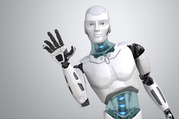 Greeting robot waves his hand