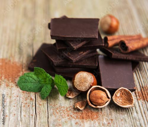 obraz lub plakat Chocolate with hazelnuts