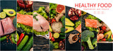 Photo collage Healthy food. Fruits and vegetables. Top view.