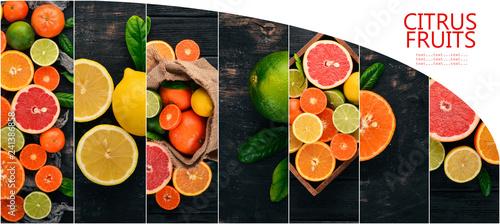 Photo collage. Citrus fruits. Lemon, Orange, Lime, Grapefruit. Fruits. Top view. - 241386858