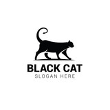 Black cat logo template isolated on white background