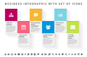 Infographic square frames with icon set and sample text