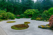 Sand garden among trees at Portland Japanese Garden, Portland, USA