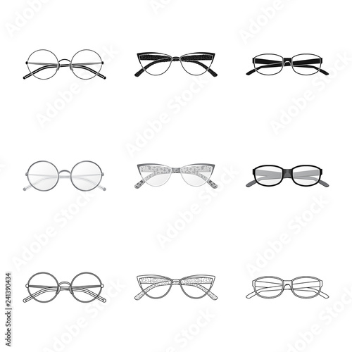 6265eb89b70 Vector illustration of glasses and frame icon. Collection of glasses and  accessory stock symbol for