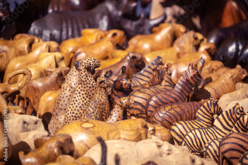 Wooden african souvenirs on sale at Cape Town market