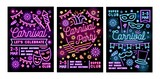 Collection of poster, flyer or invitation templates for masquerade ball, carnival or party with festive masks and decorations drawn with glowing neon lines. Vector illustration in linear style. - 241397228