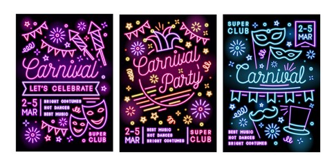 Collection of poster, flyer or invitation templates for masquerade ball, carnival or party with festive masks and decorations drawn with glowing neon lines. Vector illustration in linear style.