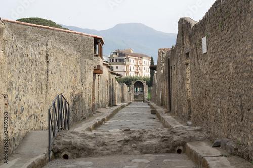 Old ancient city village town stone rocks street of Pompei - 241398263