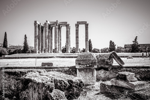 Ancient Greek ruins overlooking the Temple of Olympian Zeus, Athens, Greece