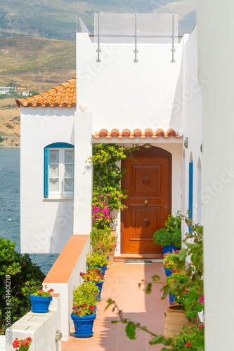 Beautiful traditional house at Andros island in Greece with flowers.