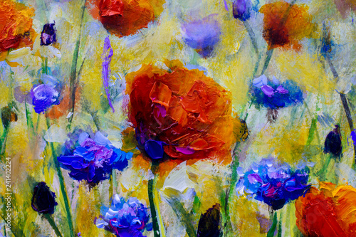 oil painting on canvas modern impressionism Flower meadow with poppies. Postcard painted red poppy with leaves lively watercolor paint for your design © weris7554