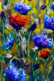 Original oil painting on canvas. Poppy flowers and cornflowers illustration. Watercolor. Hand drawn. Modern art.