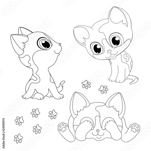 little cat is sitting black white drawing line coloring book vector illustration