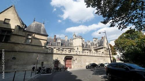 Museum medieval Paris blue sky 4K