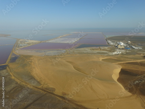 Aerial view of evaporation ponds in the dunes of a salt factory