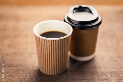 Black Coffee in Paper Cups - 241417417