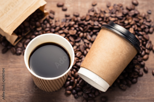 Black Coffee in Paper Cup and Beans - 241417484