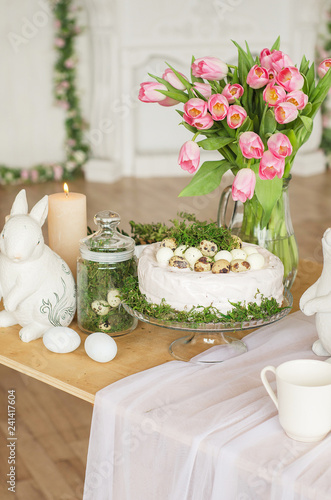 Easter interior, table decorated for Easter, Easter decorations