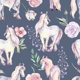 Magic Pony seamless pattern. Watercolor illustration, beautiful  - 241418054