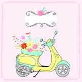 Vintage yellow scooter with a bouquet of flowers on a pink background. vector drawing