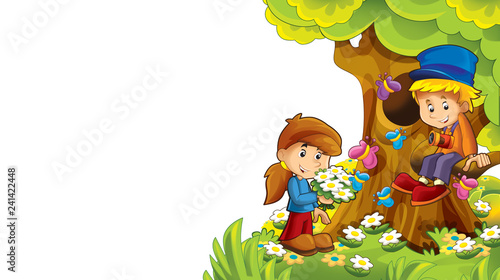 cartoon autumn nature background with kids having fun with space for text - illustration for children - 241422448