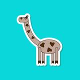 paper sticker on stylish background Kids toy giraffe