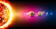 Leinwanddruck Bild - Sistema solare, pianeti diametro e grandezze, dimensioni. Rapporto di grandezze. Spazio e universo