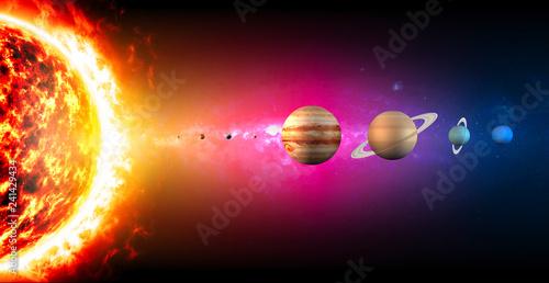 Leinwanddruck Bild Sistema solare, pianeti diametro e grandezze, dimensioni. Rapporto di grandezze. Spazio e universo