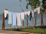cloths hung out to dry outdoors