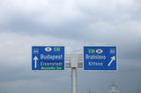 highway sign on the border between Hungary and Slovakia with dir