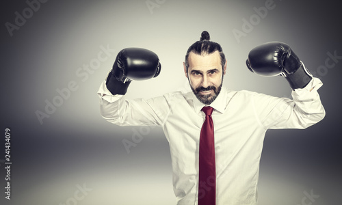businessman with boxe gloves