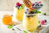 Sweet breakfast polenta with berries - 241434256