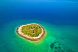 Lonely stone island in Zadar archipelago aerial view - 241435619