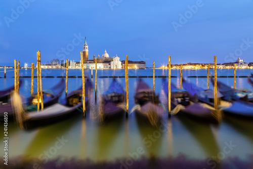 obraz PCV Venice Gondolas at night