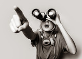 Young style girl with binoculars. Clothes in 1980s style. Image in black and white color style - 241442477
