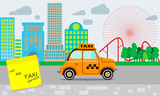 Taxi service. Yellow taxi. Reminder about the need to call a taxi service. A small town landscape and an amusement park. Flat style. - 241446878