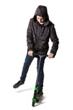 young teenager with isolated scooter in white background