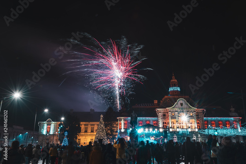 Foto Murales beautiful fireworks on a large open square